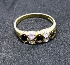 Stunning 9ct gold cubic zirconia & black diamante ring size M1/2