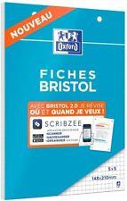 OXFORD Bloc de FICHES BRISTOL 2.0 Perforées 148x210mm Petits 14,8x21, Blanc