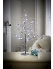 new christmas jewelled glitter twig tree 70cm silver with 48 led lights