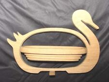 Collectible Handcraft Wood Duck Basket w/Swivel Adjustable Body Signed by Artist