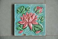 Vintage Fine Colorful Lotus Flower Embossed Ceramic Tile , Collectible