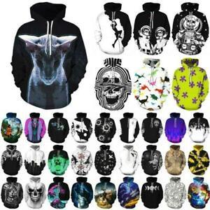 Unisex Women Men Hoodie Pullover Sweatshirt 3D Print Hooded Jumper Top Outwear