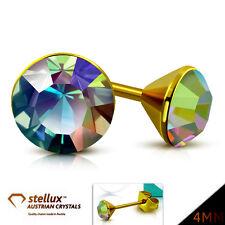 STELLUX™ Austrian Crystals Ohrstecker Ohrringe Gold Aurora 4mm 1 Paar EES218