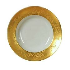 JL Coquet Limoges France Khazard Gold Round Platter Hand Painted Hand Engraved