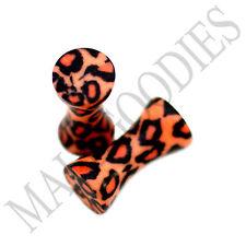 0187 Double Flare Acrylic Leopard Cheetah Print Saddle Ear Plugs 8G Gauge 3.2mm