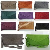 New Womens Genuine Italian Suede Leather Clutch Party Wedding  Envelope Bag