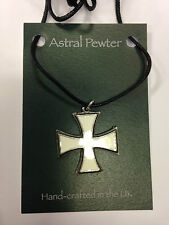 PENDANT ASTRAL PEWTER WHITE TEMPLAR IRON CROSS NECKLACE HAND CRAFTED UK NEW