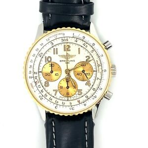 Breitling Navitimer 18K Yellow Gold Bezel Chronograph Automatic Men's Watch