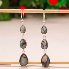 "92.5 STERLING SILVER BLUE FIRE LABRADORITE PEAR CUT EARRING 2.60"" PD-386"
