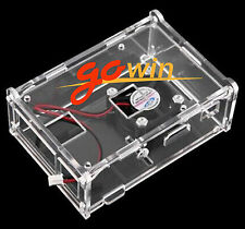 Transparent Clear Case Enclosure Box + Cooling Fan for Raspberry Pi 2 New