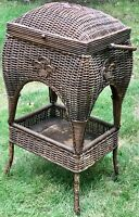 ANTIQUE EARLY 20TH C ARTS & CRAFTS HEYWOOD WAKEFIELD WICKER SEWING STAND