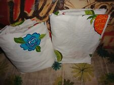 TARGET TROPICAL FRUIT LIMES PINEAPPLES TEAL RED PINK ROSES (2PC) TWIN SHEET SET