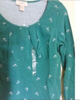 NWT Ann Taylor Loft Swallows Print Scoop Neck Long Sleeve Tee Top  $30 NEW Green