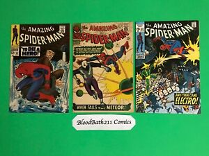 Silver Age Comic The Amazing Spider-man #36, 52, 82. 3 Book Lot
