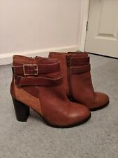 Topshop Ladies Size 6 Tan Leather Heeled Ankle Boots