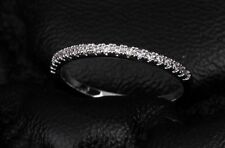 1.8mm Thin Pave Set Topaz Diamonique White Gold Filled Wedding Band Ring Size6-9