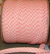 """1/2"""" EXTRA-wide Double Fold Bias tape Trim PINK & White Gingham USA Product BTY"""