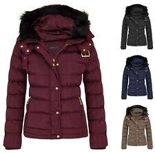 Womens Quilted Pocket Belt Padded Jacket Proof Warm Fur Zip Hooded Long UK 8-16 Wine 14