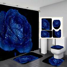 Love Blue Rose Shower Curtain BathMat Toilet Cover Rug Couple Bathroom Decor