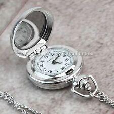 New Fashion Silver Birdcage Rose Case Pendant Necklace Chain Quartz Pocket Watch