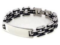 Cruz de plata para hombre pulsera de acero inoxidable goma pulsera brazalete