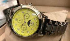 Cavadini Cavallo 42mm Watch Calendar Moon Phase Stainless Steel Face Yellow