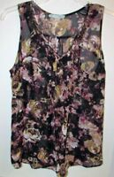 Maurices Sz S Dressy Sleevless Top Black Brown Floral Studded Blosue