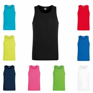 Mens Performance Quick Dry Running Vest Gym Marathon Top  9 COLOURS  S - 2XL