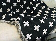 Black White Swiss Cross Cotton Throw Blanket Camp Road Trip Picnic Vanlife Rug