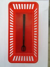 New 6 Red Multi-use Mini Plastic Food Basket Container & 600 Black Devil's Fork
