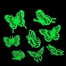 8 x Butterflies Glow In The Dark Plastic Wall Stickers Luminous Removable Decal