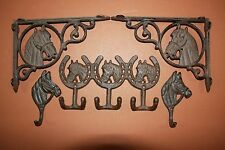 (5) Western Americana Cast Iron Home Decor, Horse, Shelf Brackets, Wall Hooks,