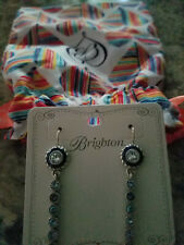 Brighton Halo Eclipse Long French Wire Earrings Swarovski Crystals Pouch