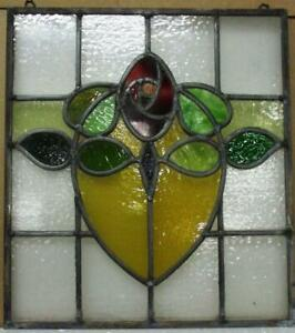 """OLD ENGLISH LEADED STAINED GLASS WINDOW Unframed w Hooks Pretty Rose 15.5""""x17.5"""""""
