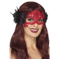 Rojo Encaje Bordado Filigrana Diablo Antifaz Disfraz Mujer Accesorio