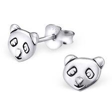 Argento Sterling 925 Panda Orecchini A Perno faccia