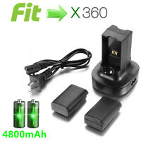 2x 4800mAh Battery Pack Charger stand for Microsoft Xbox 360 Wireless Controller