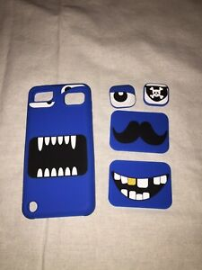 Ipod 5 silicone face case interchangeable pieces Blue monster