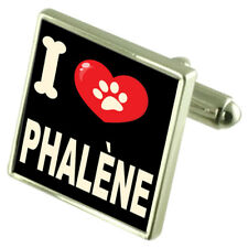 I Love My Dog Silver-Tone Cufflinks Phalène