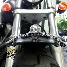 LARGE CHROME SKULL SKELETON ORNAMENT FOR HARLEY CHOPPER HEADLIGHT VISOR FENDER