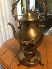Vintage Tilting Mid Century Brass Hot Water Pot  & Stand