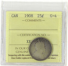 Canada 1908 25 Cents ICCS Certified G-4 Key Date King Edward VII