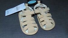 M&S Leather Upper Rip Tape Sandals 6-12mths Stone (Lt Brown) BNWT