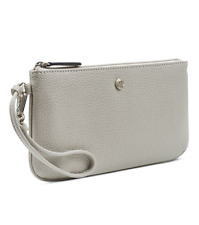 Nine West East West Wristlet Silver With Sparkle Flakes Pebble Zip Top