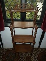 19TH CENTURY ORNATE  MAHOGANY WOTNOT STAND 4 SHELVES MEASURES VGC