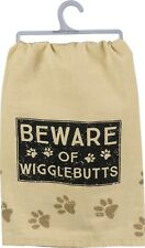 "New!~""Beware Of Wigglebutts"" Dog~Tea Towel 28""~Hand/Kitchen/Dis h/Cotton"