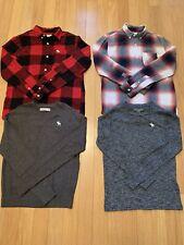 Boys Abercrombie & Kids Flannel Shirts Light Sweaters Plaid 11-12 Medium Blue