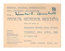 Winston Churchill Autographed 1935 Invitation/Meeting Card - BOLD!