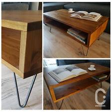 Rustic Retro Vintage Industrial Wooden Coffee Table TV Unit Metal Hairpin Legs