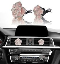 Bling Car Accessories Interior Decoration for Girls Women - Pink Crystal Flowers